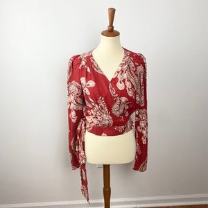 NWT T.D.C. Wrap Blouse Red Paisley